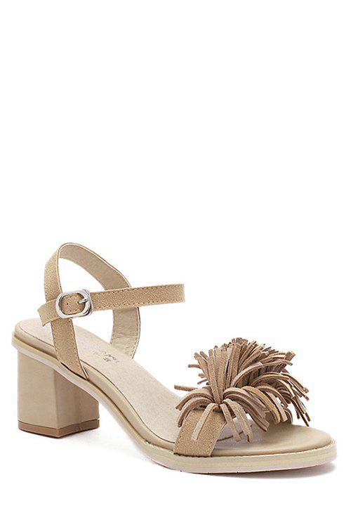 Stylish Fringe and Chunky Heel Design Sandals For Women wood val far from home