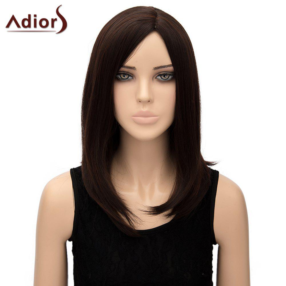 Charming Dark Brown Side Parting Straight Tail Adduction Synthetic Adiors Wig For Women dd001185 new charming short straight dark brown women wig fast hairnet d special discount 35