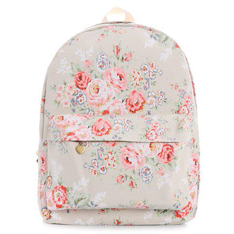 Preppy Style Floral Print and Canvas Design Women's Satchel - OFF WHITE