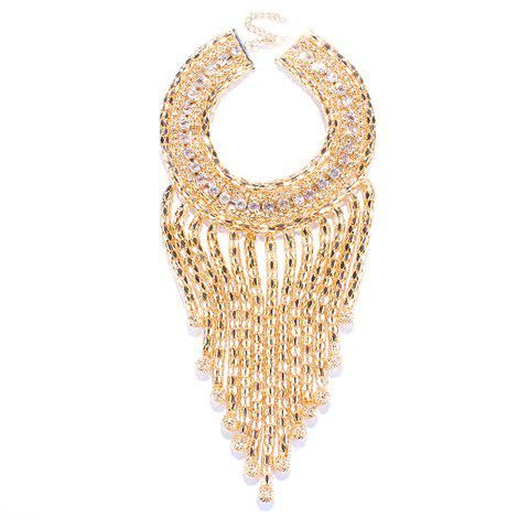 Multilayer Rhinestone Ball Fringed Necklace - GOLDEN