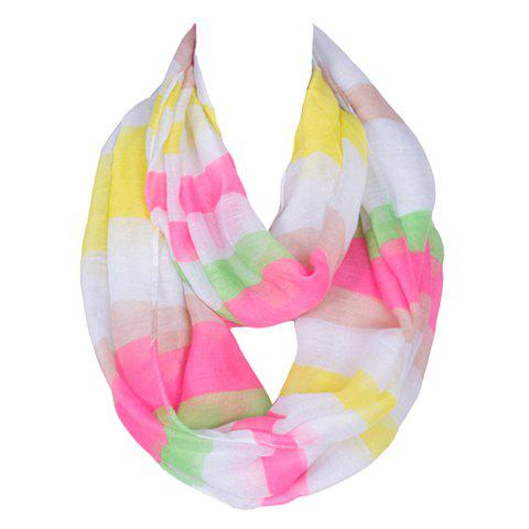 Chic Bright Color Stripe Pattern Women's Voile Bib Scarf - YELLOW