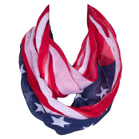 Chic Stars and Stripes Pattern Women's Voile Bib Scarf - RED