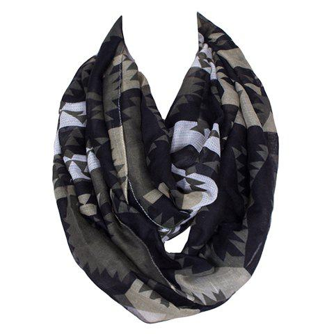 Chic Dark Color Geometric Pattern Women's Voile Bib Scarf - ARMY GREEN