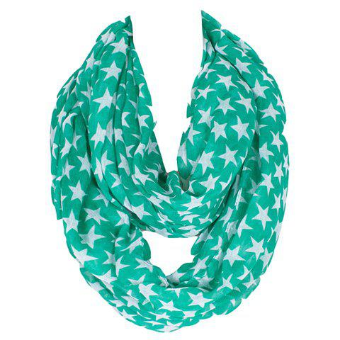 Chic White Five-Pointed Stars Pattern Women's Voile Bib Scarf - GREEN