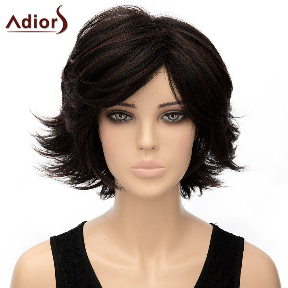 Fashion Black Brown Mixed Short Fluffy Straight Anti Alice Hair Women's Synthetic Wig - COLORMIX