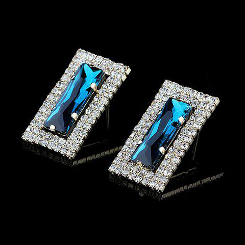 Pair of Charming Rhinestoned Rectangle Earrings For Women - LAKE BLUE
