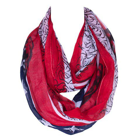 Chic American Flag and Skull Pattern Women's Voile Bib Scarf - RED