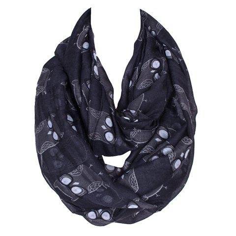 Chic Cartoon Spectacled Owl Pattern Women's Black Voile Bib Scarf - BLACK