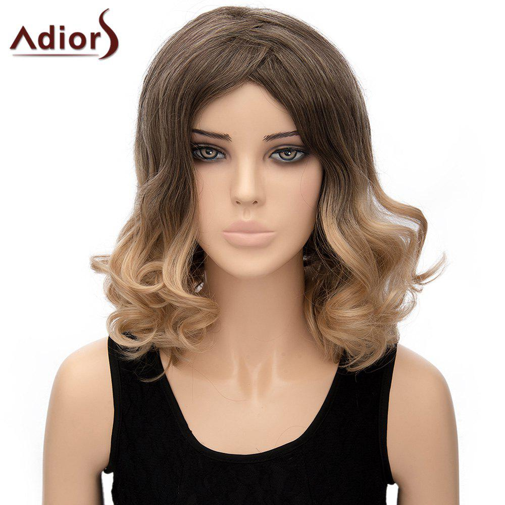 Stylish Medium Brown Ombre Blonde Fluffy Medium Wave Synthetic Adiors Wig For Women - OMBRE
