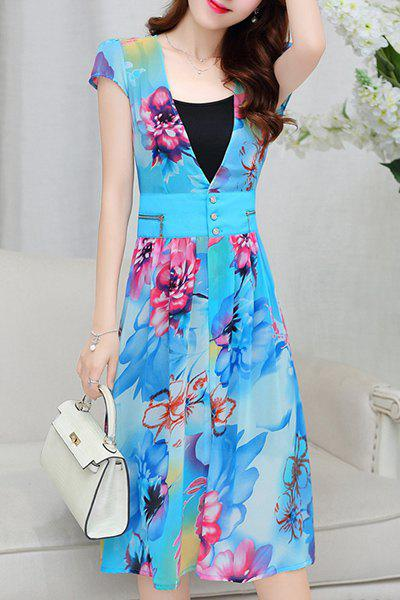 Trendy Short Sleeve Floral Print Chiffon Dress For Women - WATER BLUE M