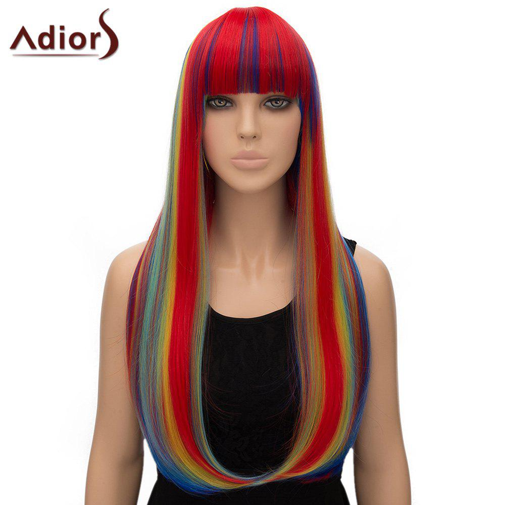 Adiors Women's Colorful Straight Long Full Bang High Temperature Fiber Cosplay Wig