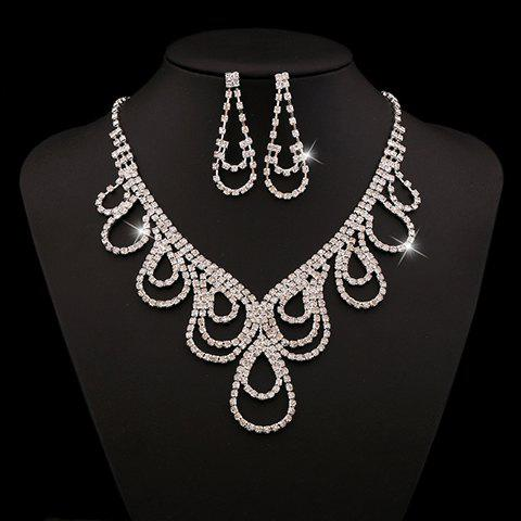 A Suit of Rhinestoned Water Drop Necklace and Earrings - WHITE