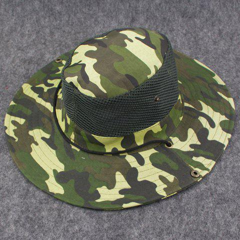 Stylish Breathable Net and Button Embellished Camouflage Pattern Men's Bucket Hat - GREEN