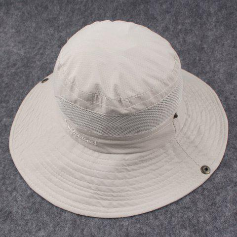 Stylish Breathable Net and Letters Embroidery Embellished Pattern Men's Bucket Hat - OFF WHITE