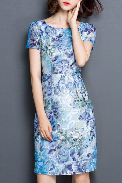 Chic Women's Jewel Neck Short Sleeve Print Dress - BLUE M
