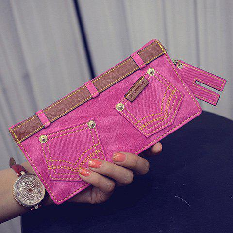 Stylish Double Pocket and Stitching Design Women's Wallet - ROSE