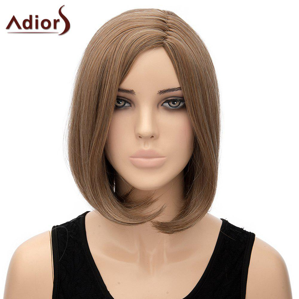 Trendy Side Parting Short Bob Style Straight Synthetic Adiors Wig For Women - FLAX