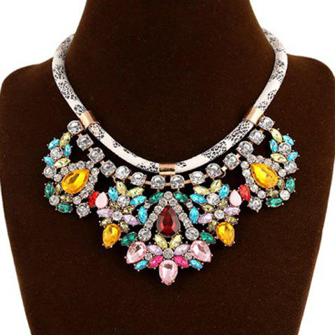 Artificial Gem Flower Hollow Out Necklace - COLORMIX