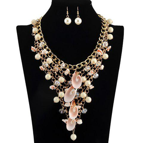A Suit of Gorgeous Faux Pearls Shell Multilayer Necklace and Earrings For Women