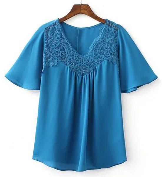 Stylish Women's V-Neck Lace Splicing Butterfly Sleeve Blouse - BLUE S