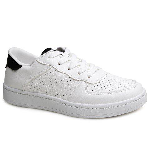 Stylish Breathable and Colour Block Design Men's Casual Shoes - WHITE/BLACK 40