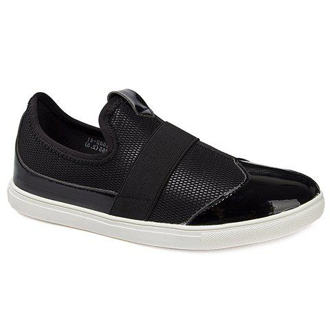 Stylish Splicing and Black Colour Design Men's Casual Shoes - BLACK 40