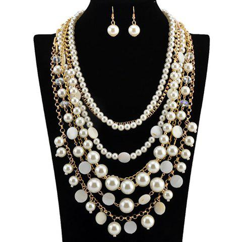 A Suit of Gorgeous Multilayer Fake Pearls Necklace and Earrings For Women