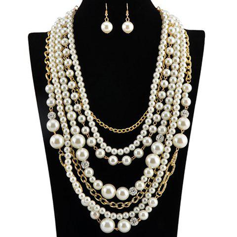 A Suit of Gorgeous Multilayer Fake Pearls Chain Necklace and Earrings For Women -  WHITE/GOLDEN