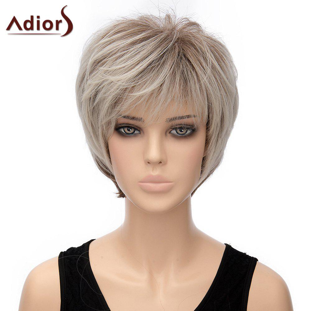 Fluffy Short Straight Capless Two-Tone Ombre Synthetic Adiors Wig For Women