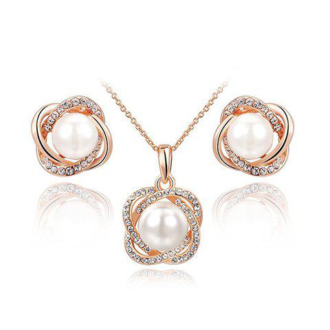 A Suit of Charming Faux Pearl Rhinestone Necklace and Earrings For Women