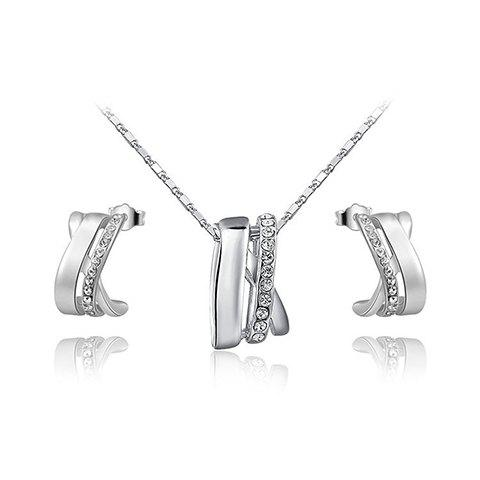 A Suit of Stunning Rhinestone Necklace and Earrings Jewelry For Women
