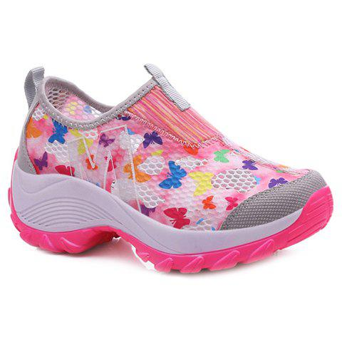 Trendy Butterfly Pattern and Multicolor Design Women's Athletic Shoes - PINK 38