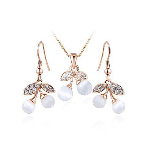 A Suit of Leaf Faux Pearl Necklace and Earrings - GOLDEN
