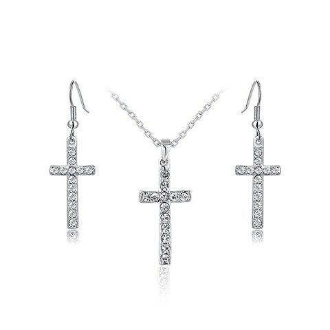 A Suit of Cross Rhinestoned Necklace and Earrings - SILVER