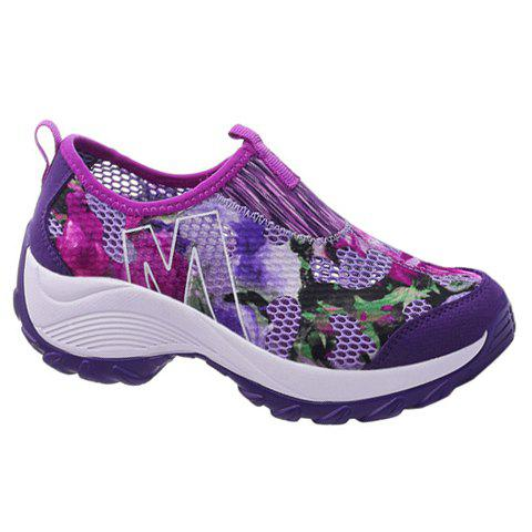 Fashionable Multicolor and Floral Print Design Women's Athletic Shoes - PURPLE 38