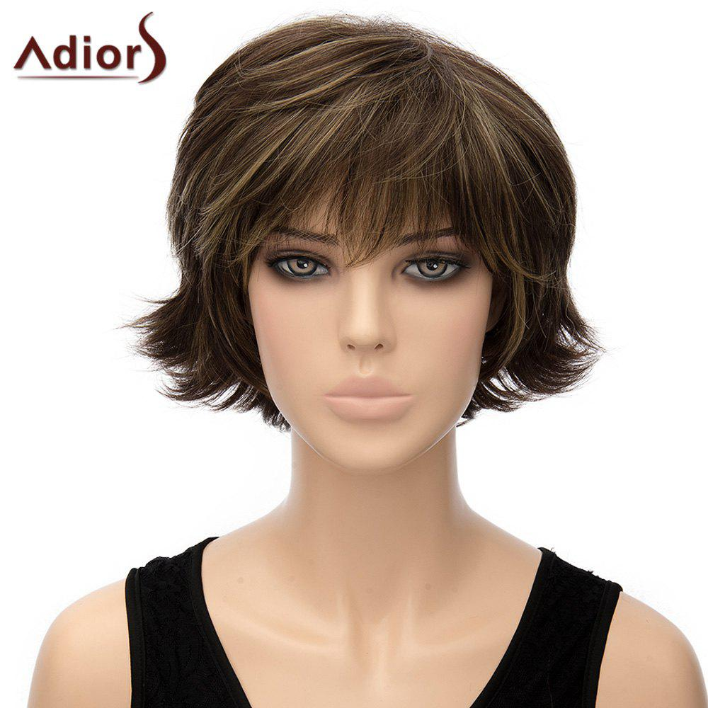 Trendy Dark Brown Mixed Short Shaggy Straight Synthetic Adiors Wig For Women - COLORMIX
