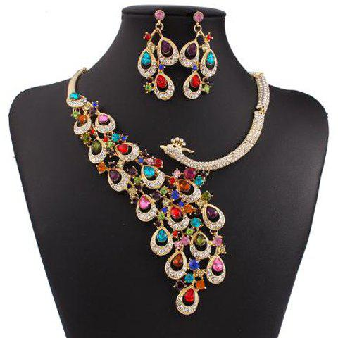 A Suit of Gorgeous Fake Gem Rhinestone Phoenix Necklace and Earrings For Women - COLORMIX
