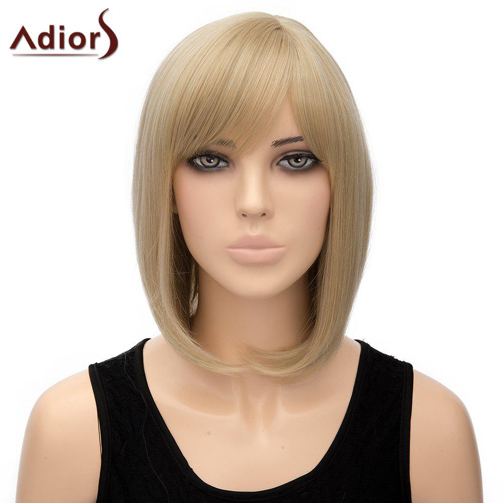 Bob Style Short Heat Resistant Fiber Noble Straight Light Blonde Capless Adiors Wig For Women - LIGHT GOLD