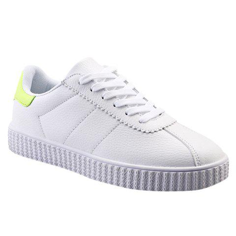 Stylish Colour Matching and PU Leather Design Men's Casual Shoes - WHITE/GREEN 39