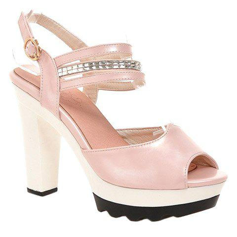 Elegant Chunky Heel and Peep Toe Design Women's Sandals - SHALLOW PINK 34
