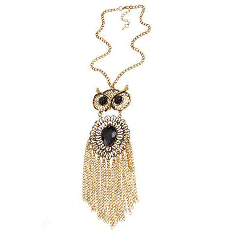 Gorgeous Fake Gem Owl Hollow Out Tassel Necklace For Women