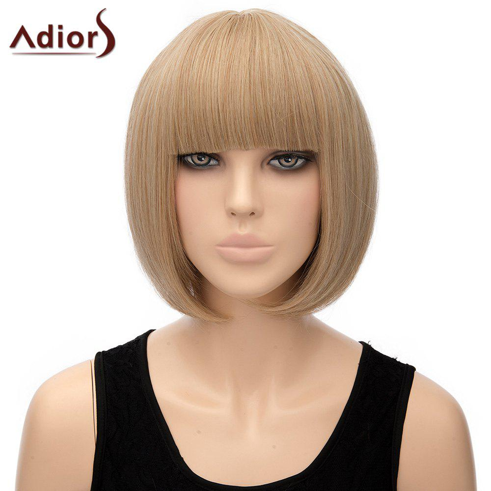 Bob Style Light Brown Straight Sweet Full Bang Short Synthetic Adiors Wig For Women - LIGHT BROWN