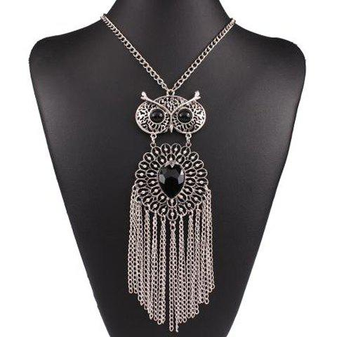 Fake Gem Hollow Out Owl Fringed Necklace - SILVER