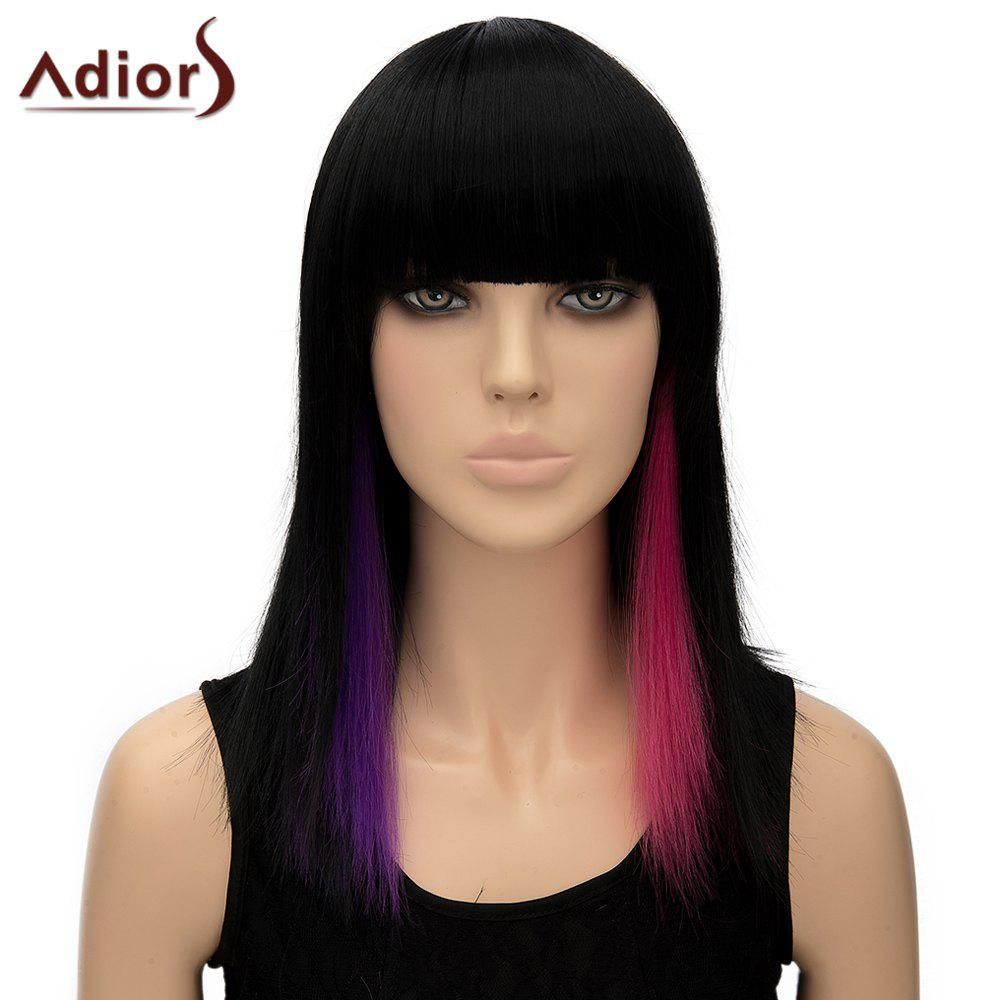 Faddish Rose and Purple Highlight Synthetic Full Bang Straight Long Women's Adiors Wig - COLORMIX