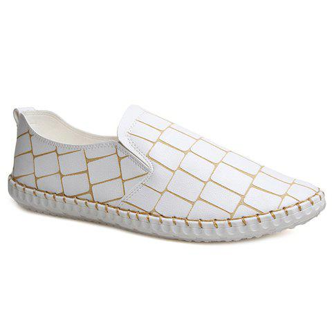 Stylish Stitching and Plaid Pattern Design Men's Casual Shoes - WHITE 40