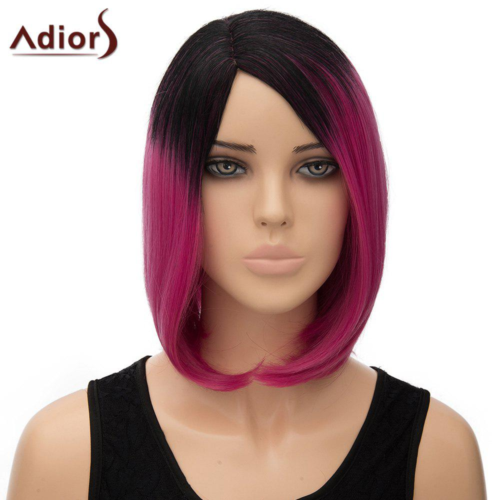 Stylish Black Ombre Rose Short Synthetic Bob Style Short Side Parting Women's Adiors Wig - OMBRE