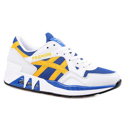 Stylish Breathable and Color Matching Design Men's Athletic Shoes - BLUE/WHITE 40