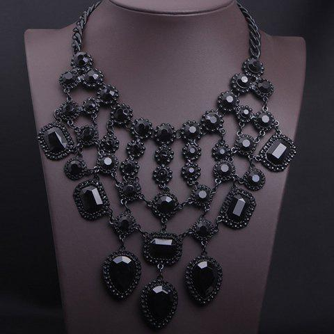 Layered Fake Gem Geometric NecklaceJewelry<br><br><br>Color: BLACK