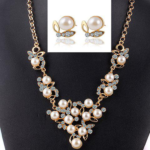 A Suit of Noble Faux Pearl Necklace and Earrings For Women