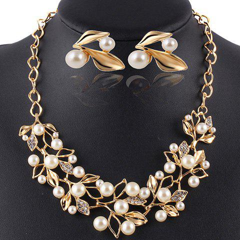 A Suit of Noble Faux Pearl Necklace and Earrings Jewelry For Women